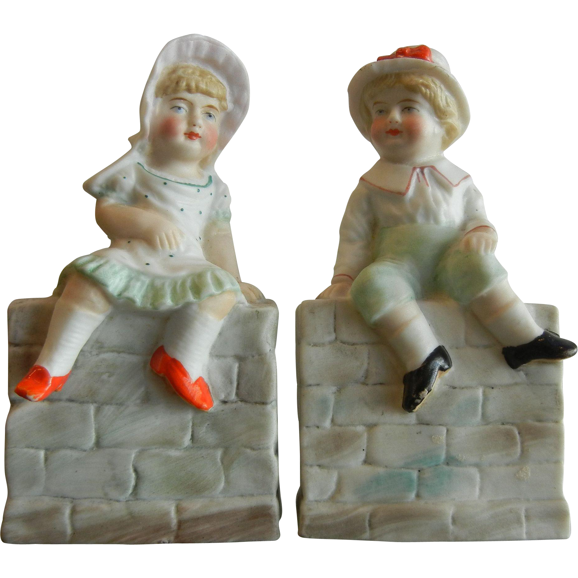 Antique German Bisque  Porcelain Figurines Boy & Girl Sitting on a Wall