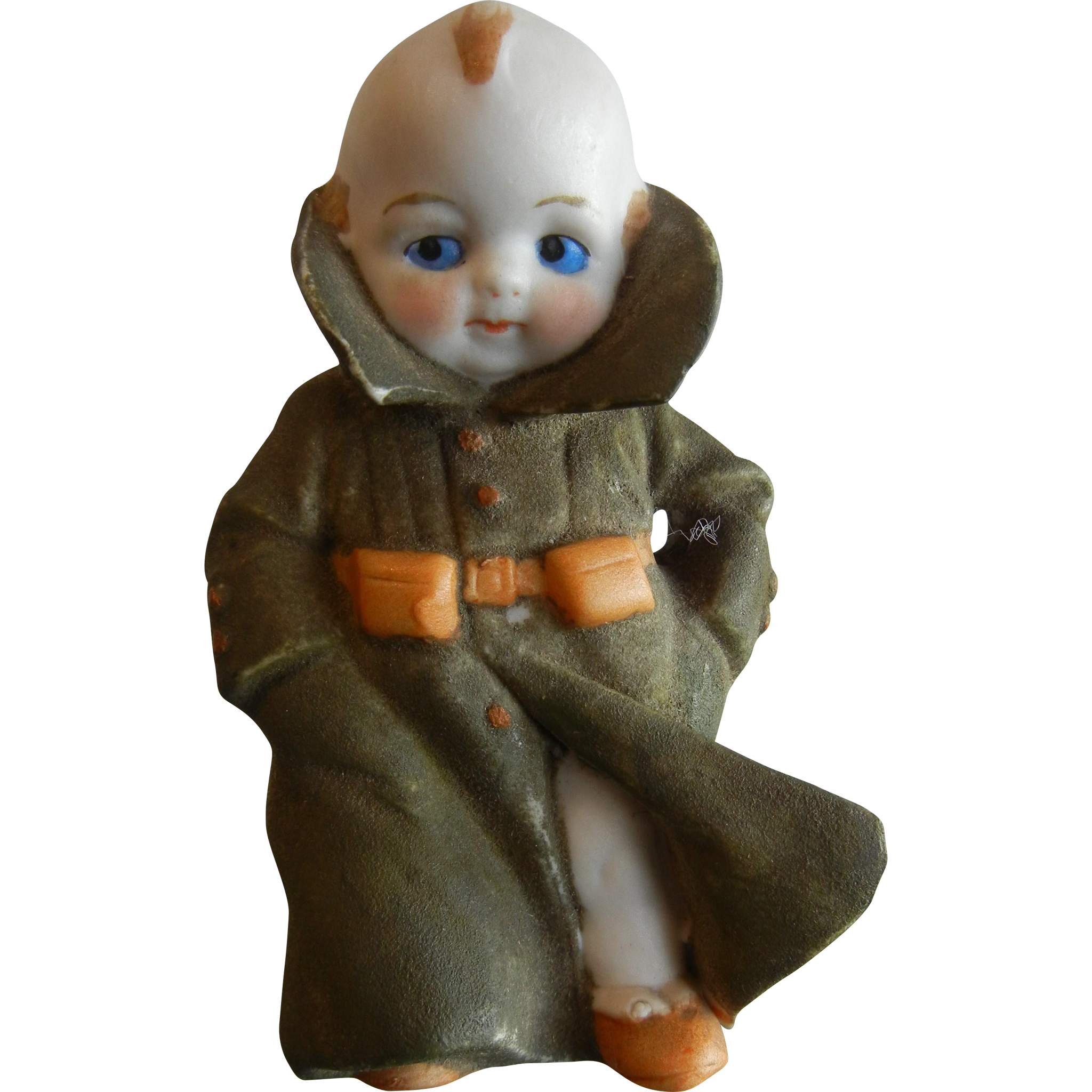 Hand Painted Bisque Porcelain Figurine Boy in Soldier Uniform