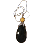 Gorgeous SAJEN Sterling Silver 925 Natural Labradorite & Gold Druzy Pendent Necklace