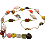 Super Long Vintage Multi Color & Design Art Glass Beaded Necklace