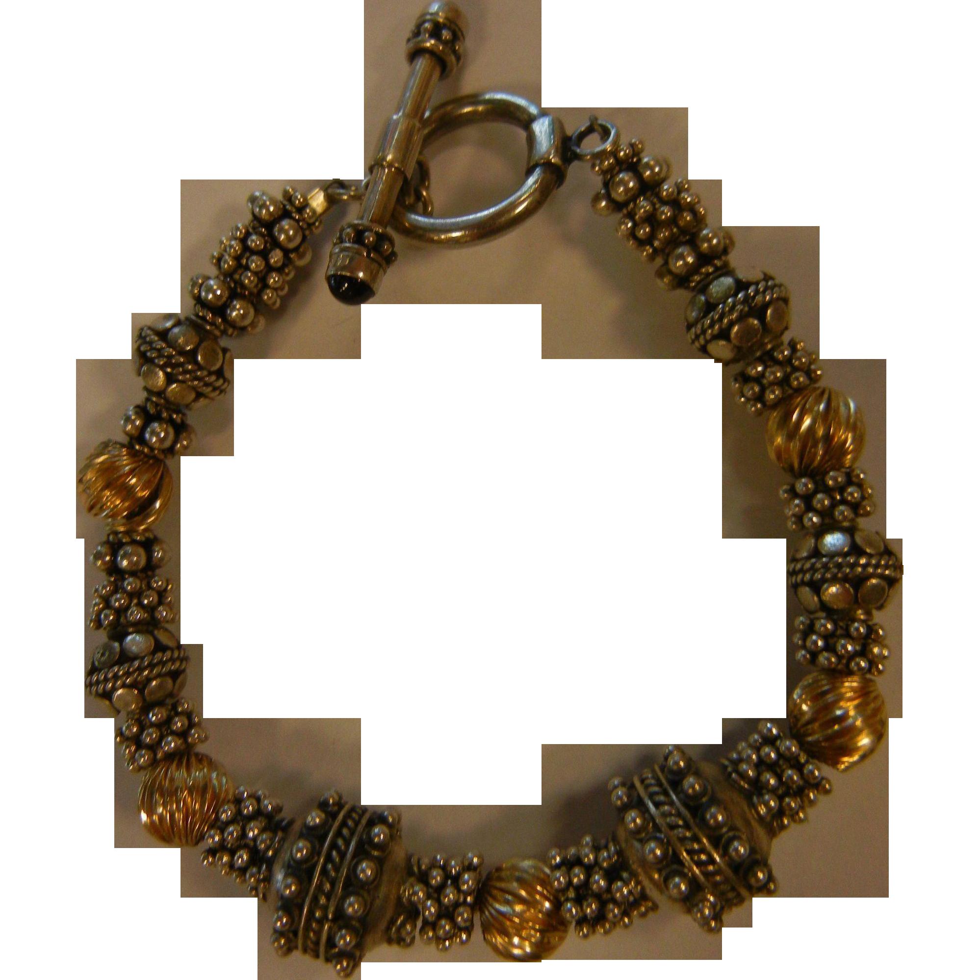Fine Sterling Silver & Gold Bead Bracelet