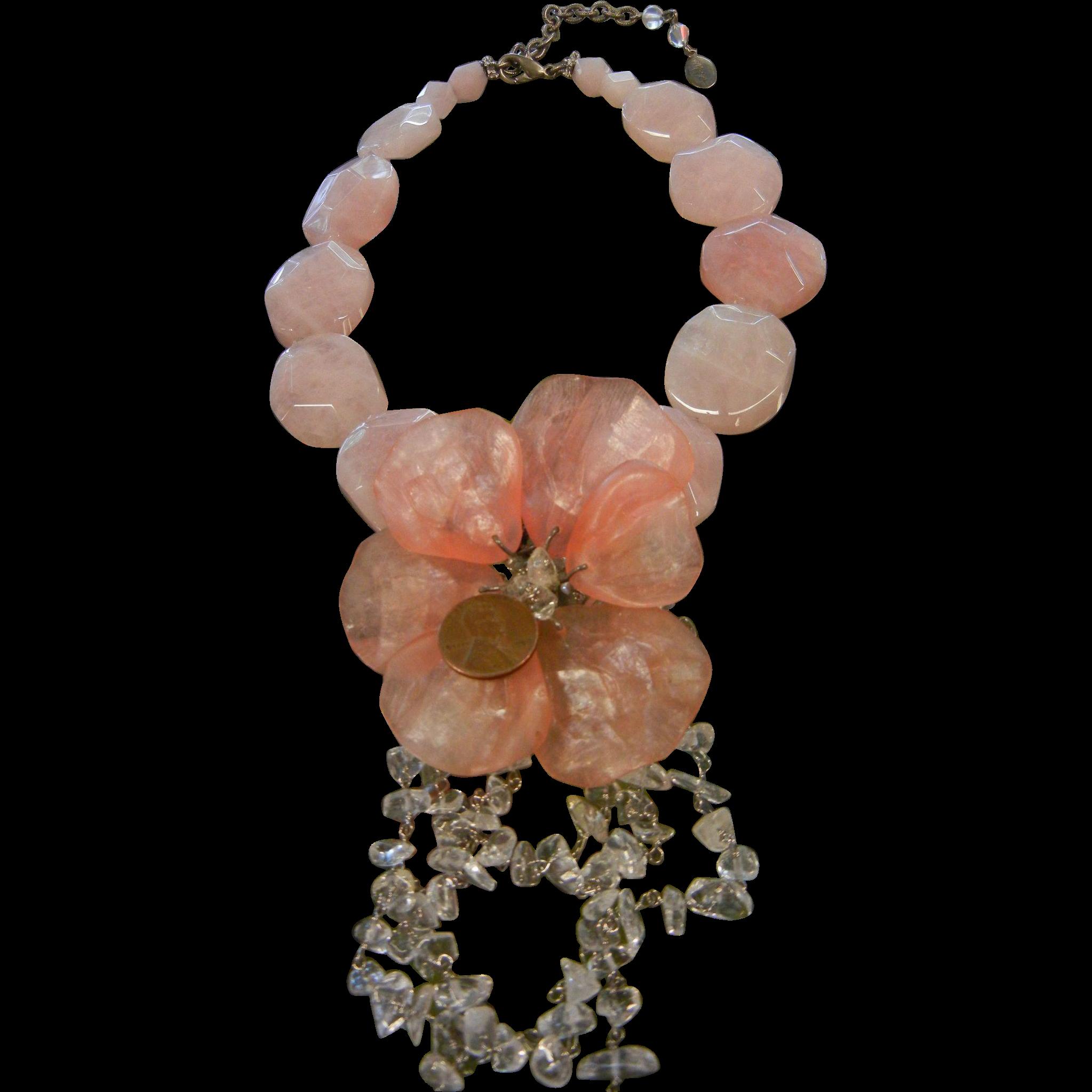 MAYA Designer Statement Necklace w/ Faceted Natural Rose Quartz