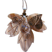 Vintage Sterling Silver Decorated Carved Mother of Pearl Leaf Pendent w/ Blister Pearl