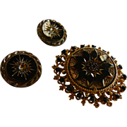 Vintage FLORENZA Signed Brooch w/ Matching Clip Earrings