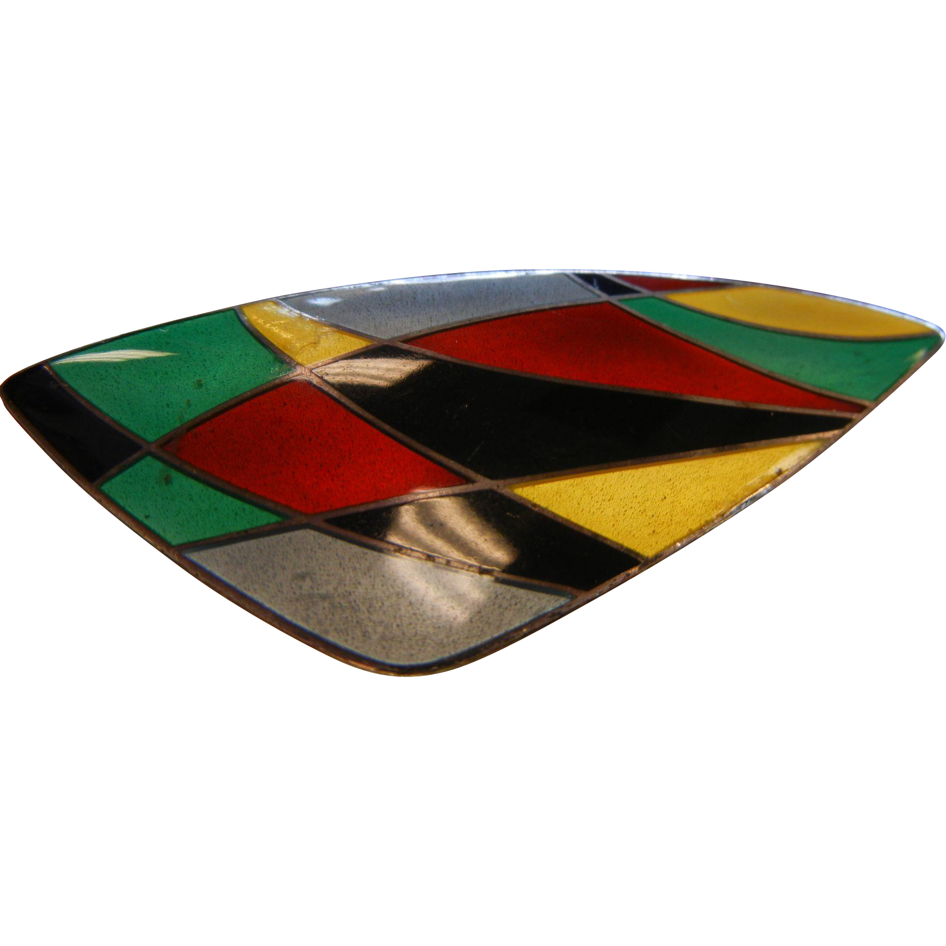 Superb Vintage Signed Modernist Denmark Enameled Sterling Silver Brooch