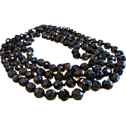 Awesome Super Long Opera Length Vintage Faceted Hematite-Glass Beaded Necklace