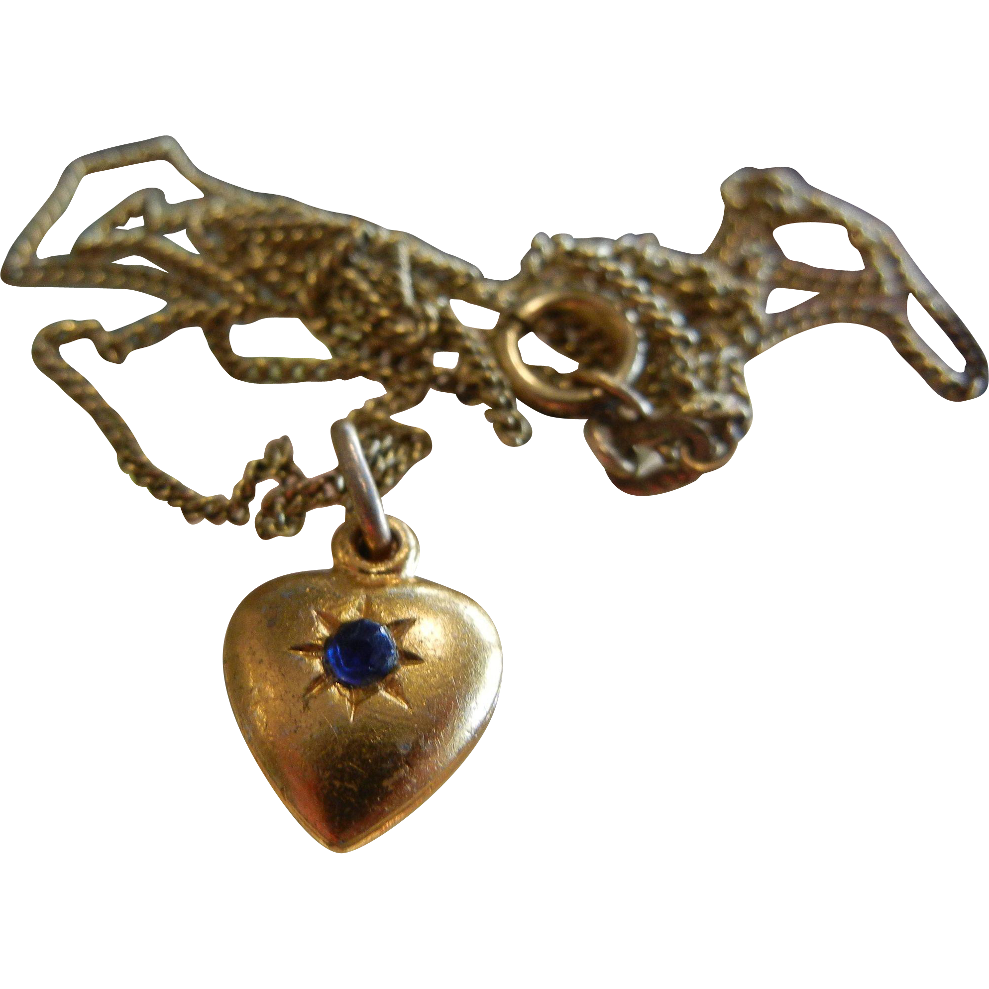 Fine Vintage Gold-Tone Heart Charm w/ Blue Rhinestone & Embellished Saint Bernadette Mother Mary