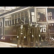 Vintage Original Photograph Postcard of Trolley in Vancouver Washington