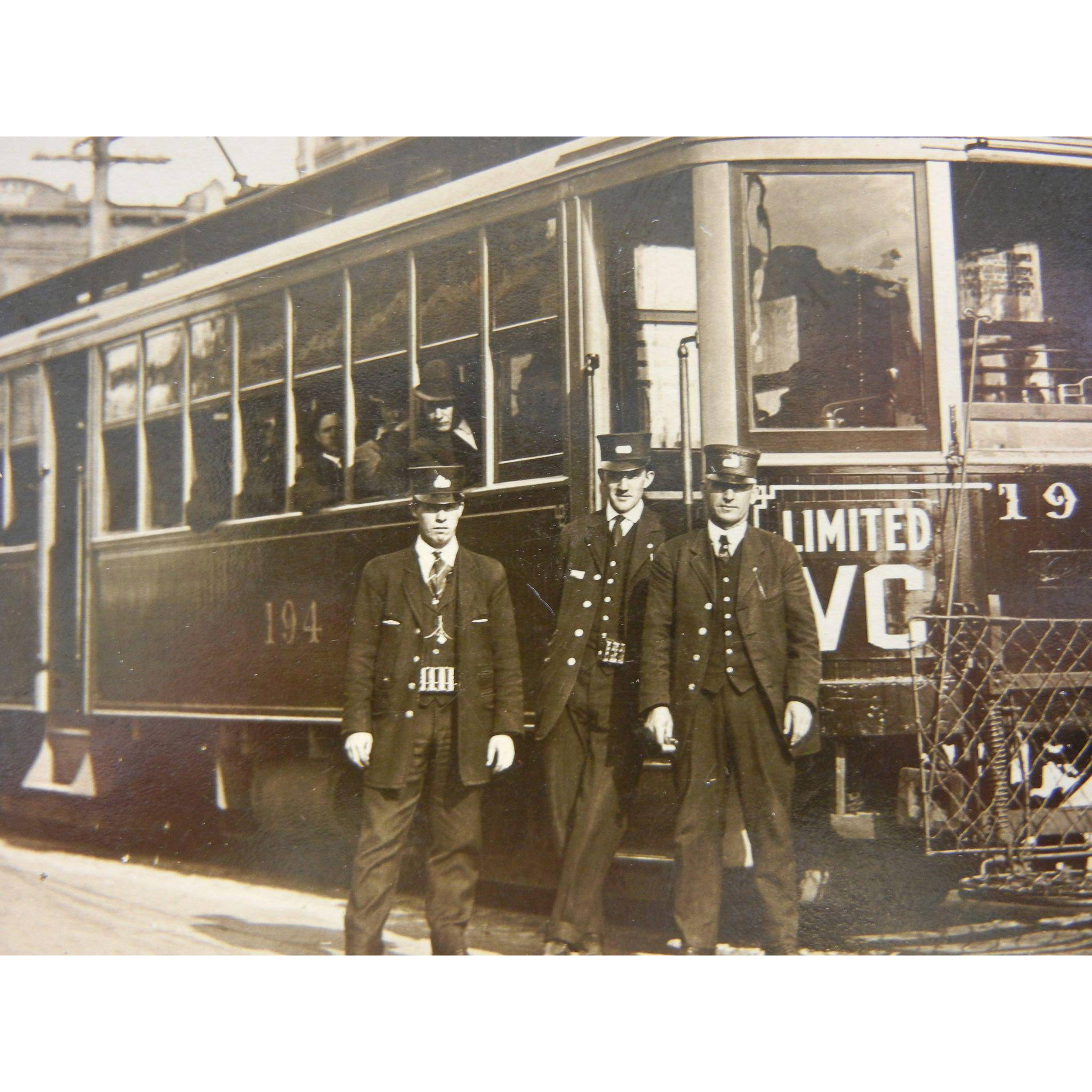 Vintage Original Photograph Postcard of Trolley in Vancouver Washington