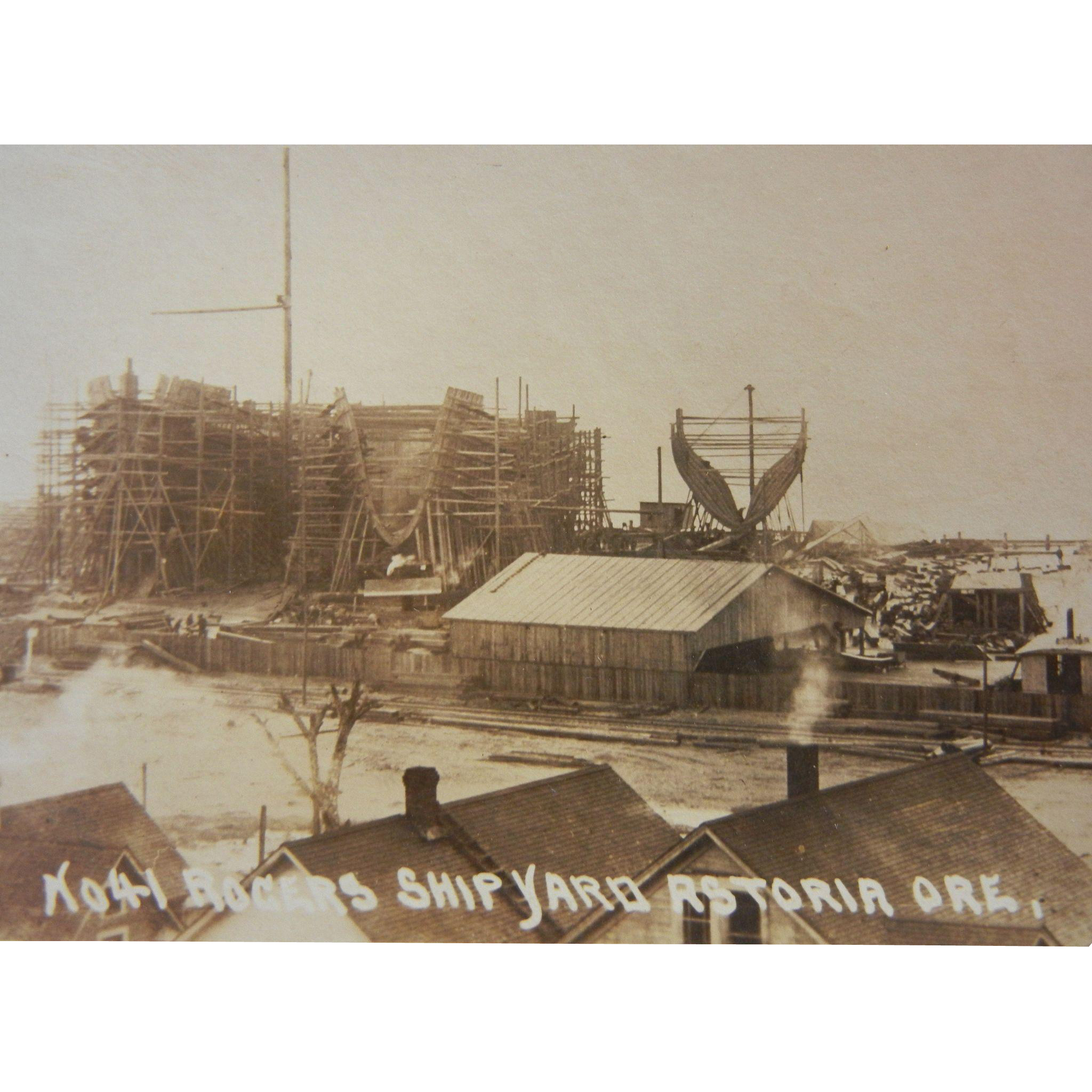 Vintage Original Photograph Postcard of Roger's Shipyard in Astoria, Oregon