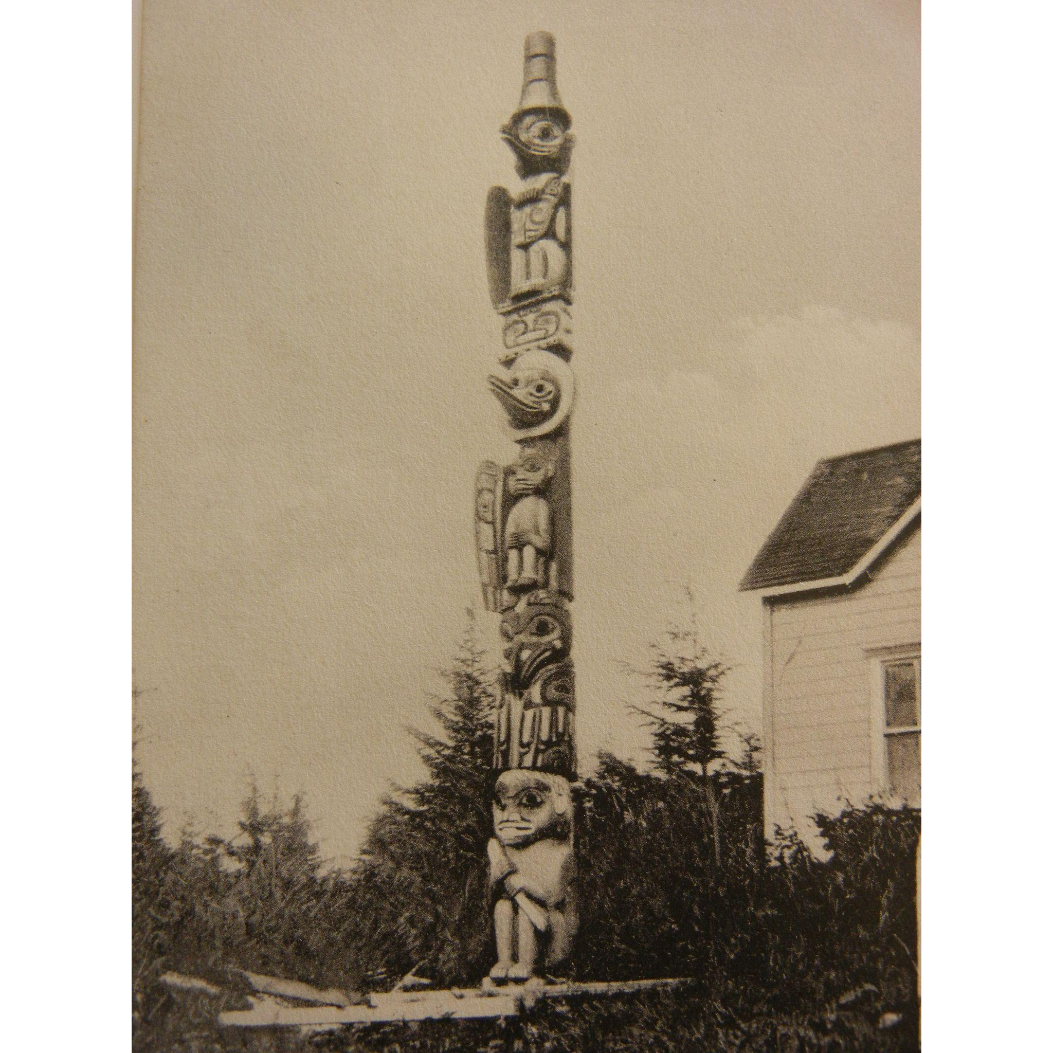 Vintage Original Photograph Postcard of Totem Pole at Wrangle, Alaska
