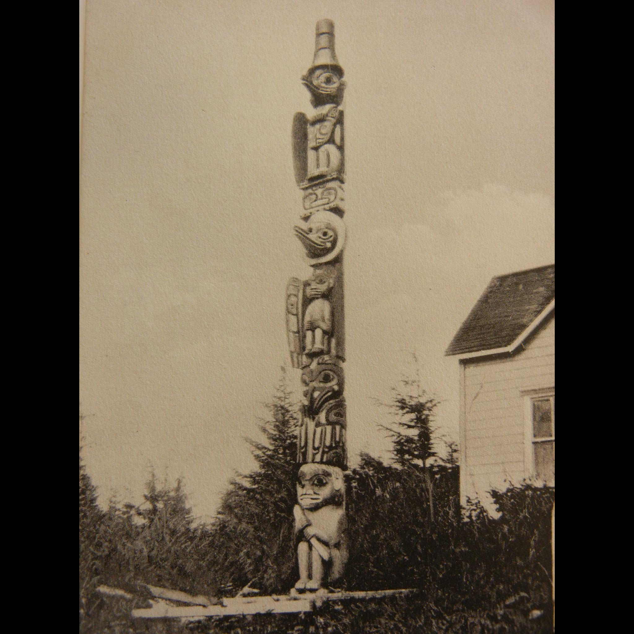 Vintage Original Photograph Postcard of Totem Pole at Wrangle, Alaska