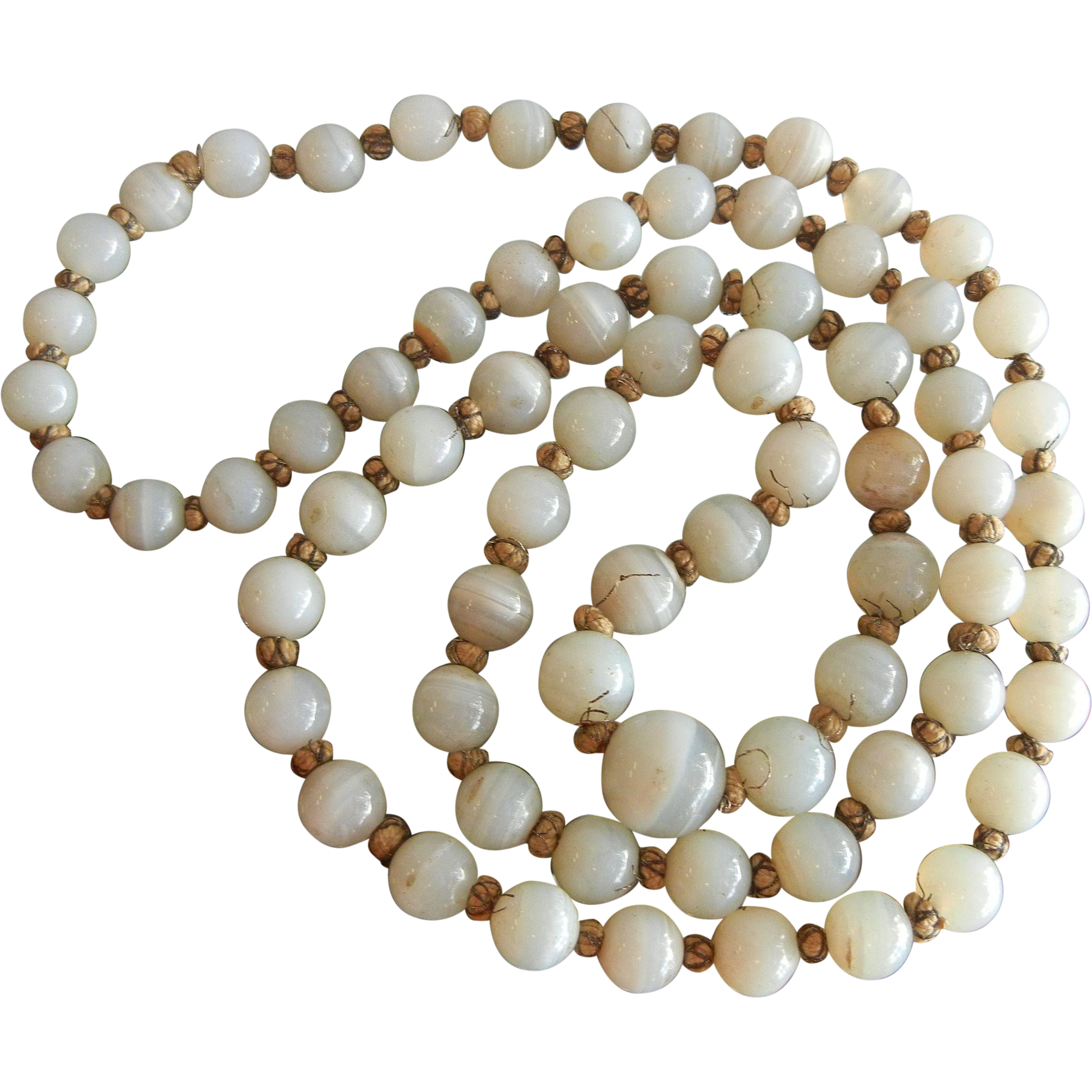 Antique Natural Agate Silver Gold Thread Bead Necklace