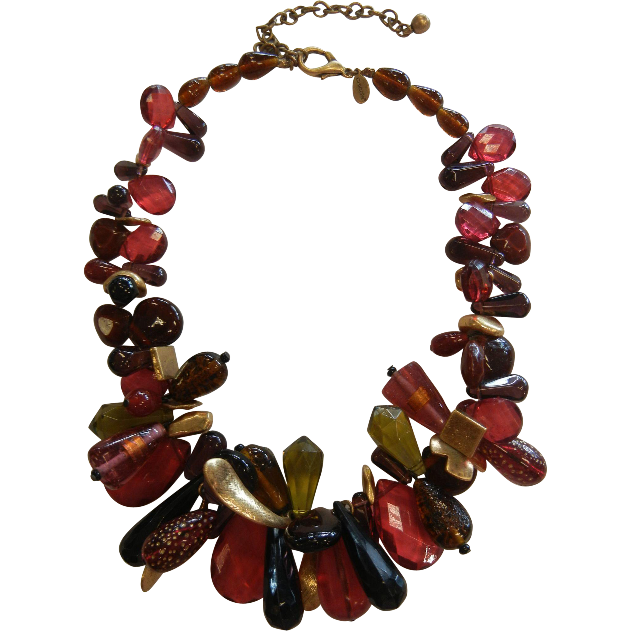 Chunky Gold-Tone & Red Glass Necklace Chico's