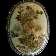 Antique Hand Enameled Satsuma Porcelain Belt Buckle w/ Gilded Floral Design
