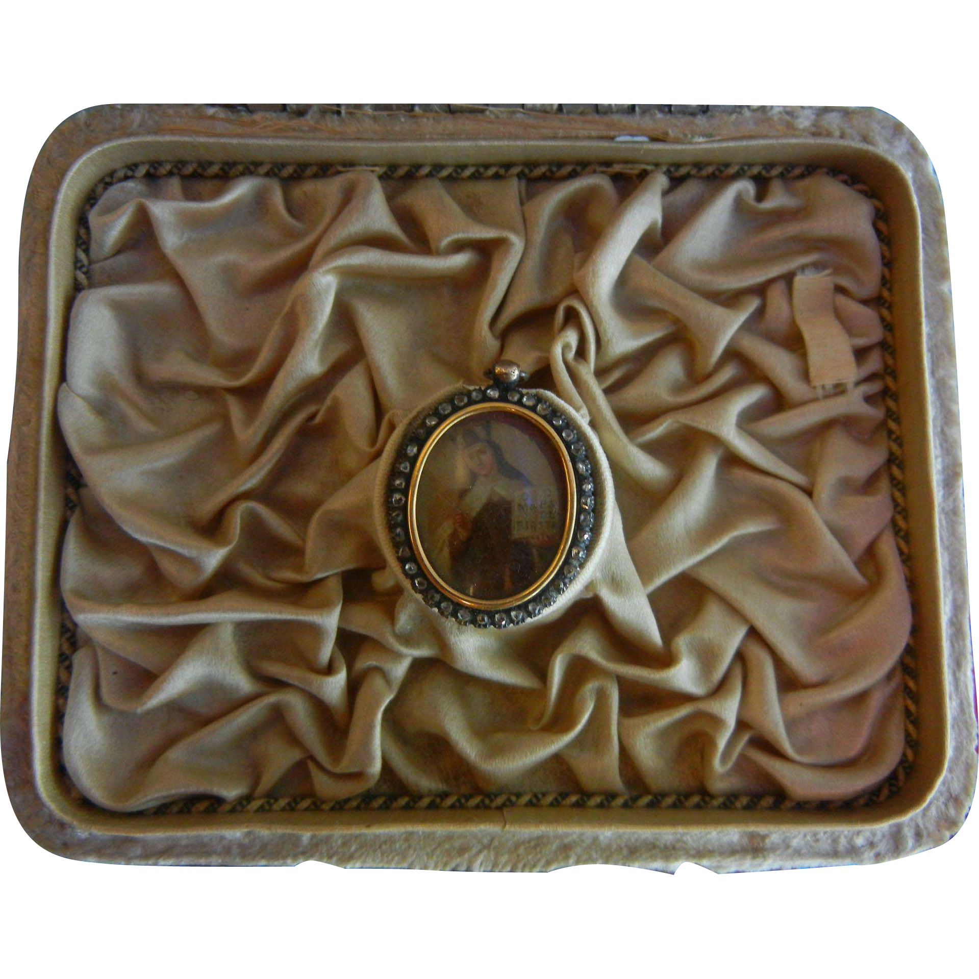 Very Fine Antique  Diamond Frame Hand Painted Locket Pendent OF A Saint