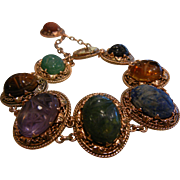 Unique Super Fine 9K Rose Gold Link Bracelet w/ Natural Stone Carved Scarab Beetles