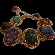 Unique Super Fine 9K Rose Gold Link Bracelet w/ Natural Stone Carved Scarab Beetles