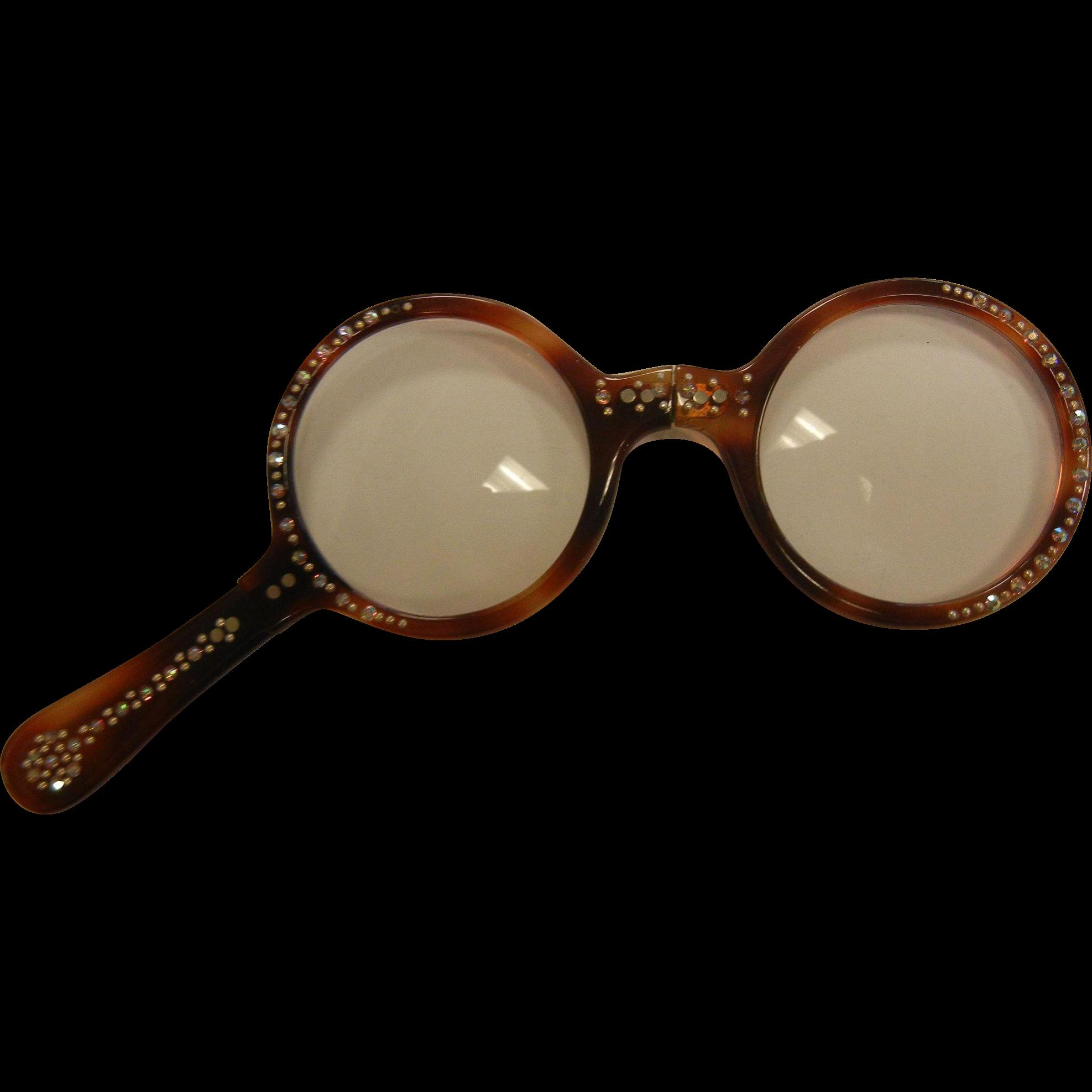 Vintage Tortoise Color Rhinestone  Folding Pocket Glasses