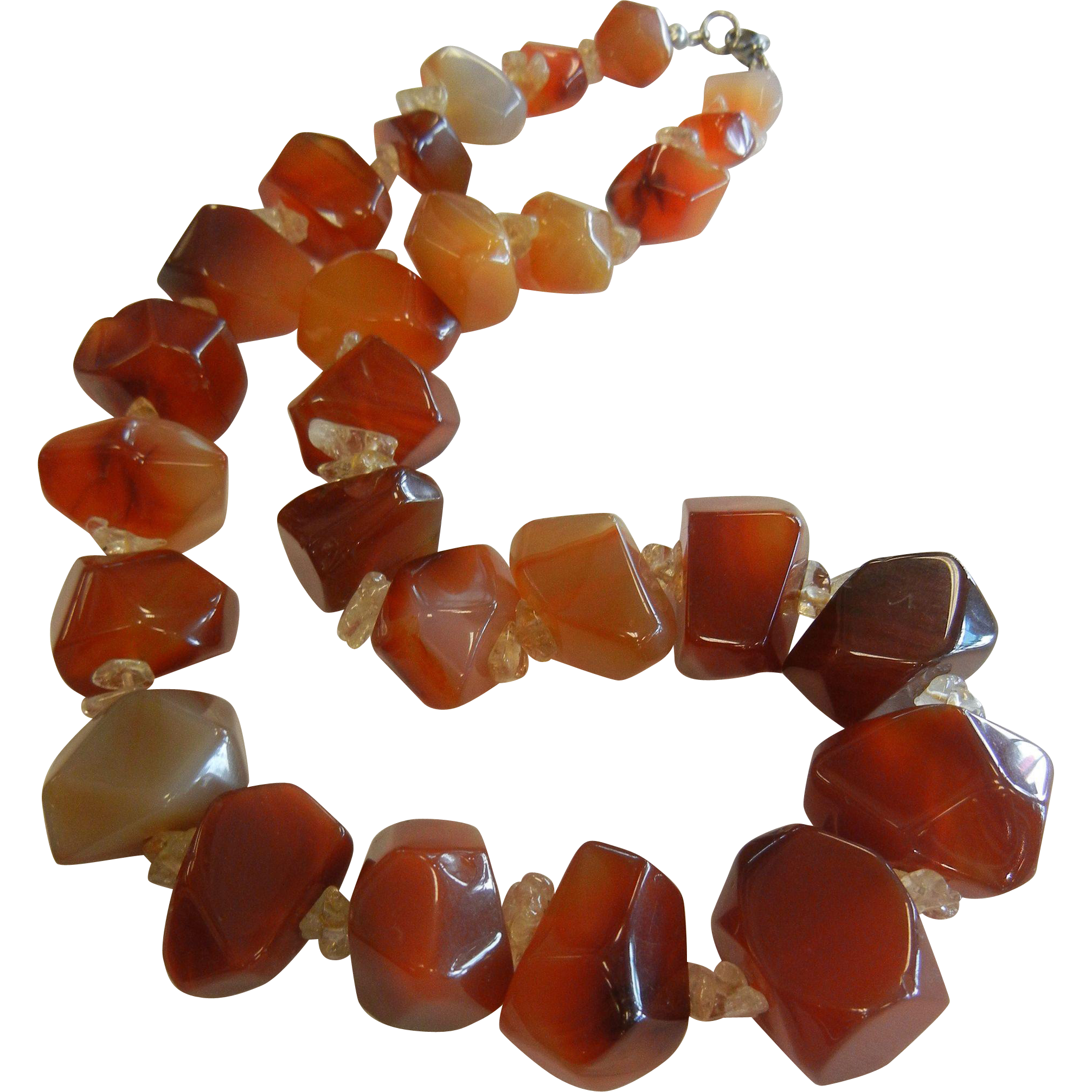 Large Chunky Polished Natural Agate Graduated Stone Bead Necklace