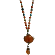 Unique Silver Chain & Natural Stone Bead Necklace w/ Hand Carved Carnelian Pendent