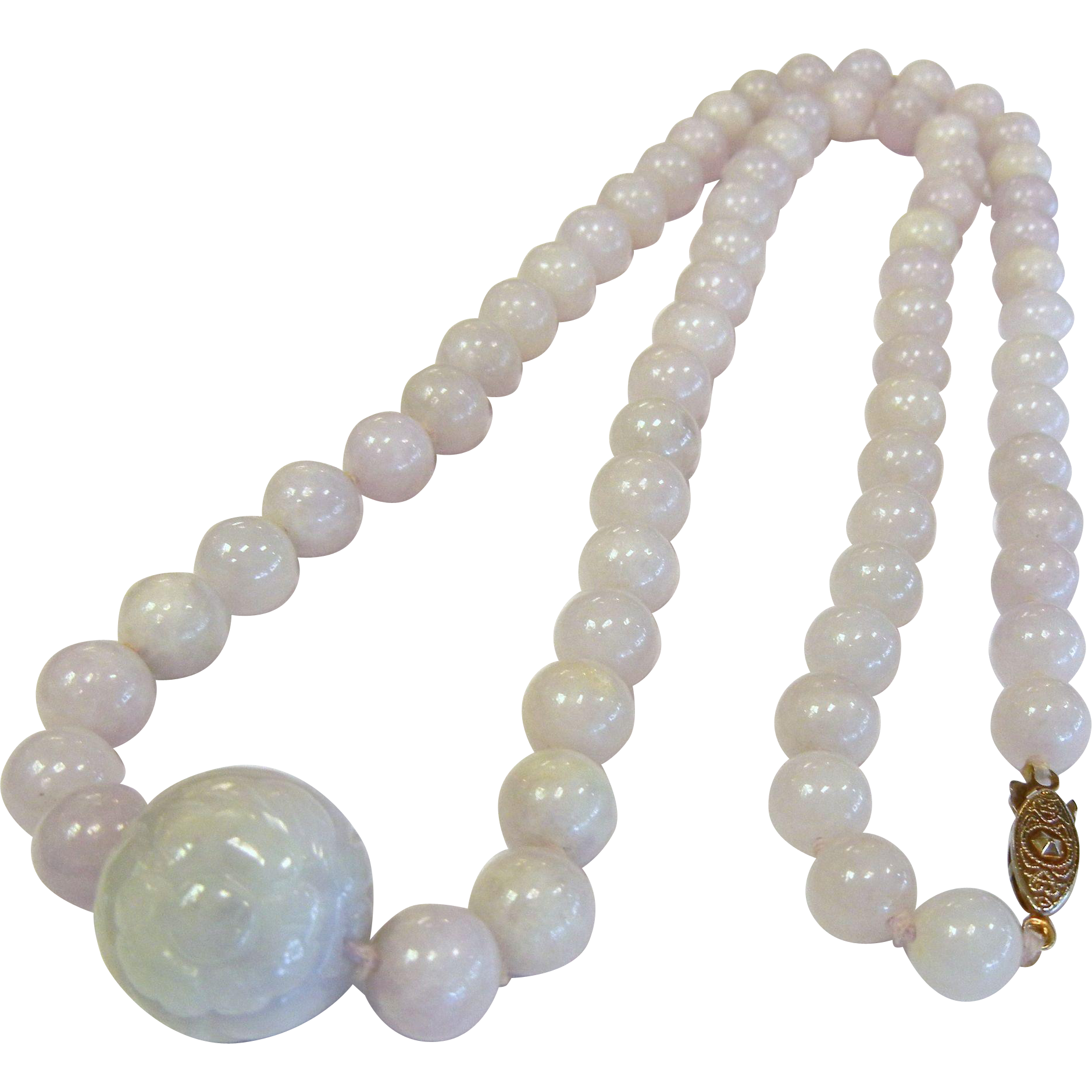 Fine Natural White Lavender Jade Bead Necklace w/ Carved Center Bead