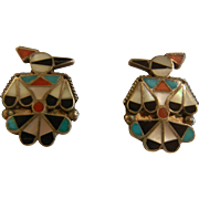 Vintage Native American Natural Stone Inlaid Sterling Silver Thunderbird Screw Back Earrings