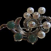 Vintage Caribe Sterling Silver Brooch w/ Cultured Pearls & Green Aventurine