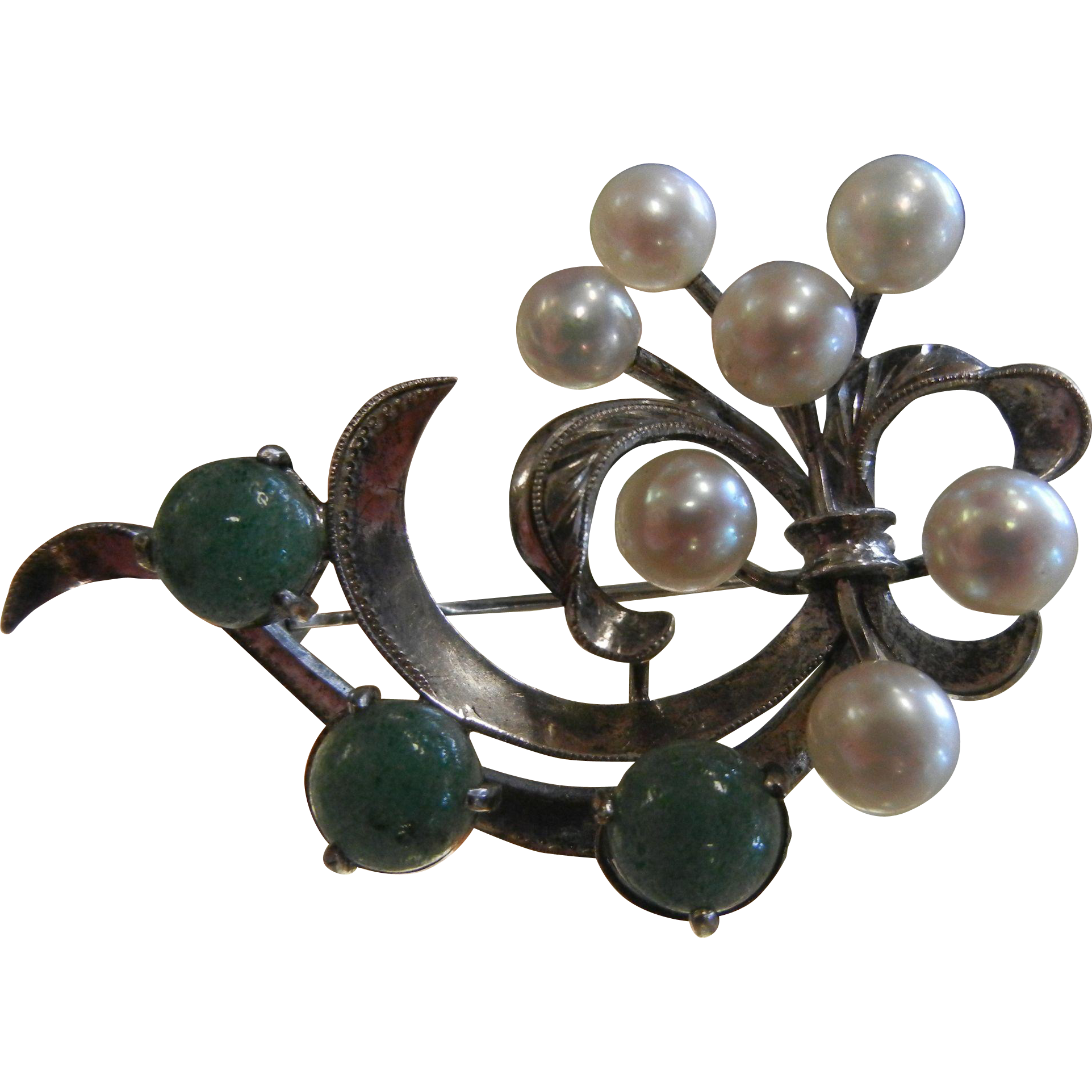 Vintage Caribe Sterling Silver Brooch w/ Cultured Pearls & Green Aventurine