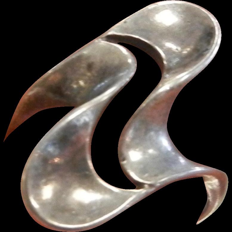 Modernist Designer Signed Sterling Silver Ring
