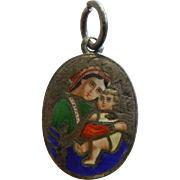 Very Fine Antique Enameled Silver Charm w/ Mother Mary & Baby Jesus