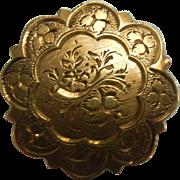 Vintage Engraved Gold Filled Pendent Brooch