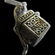 "Fine Sterling Silver Prayer Box Charm Necklace ""Hope Faith Love"""