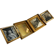 Fine Vintage Gold-Tone Miniature Folding Pocket Photo Book w/ Mother of Pearl