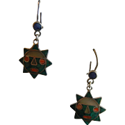 Super Fine 950 Signed Inlaid Natural Stone Sun God Earrings