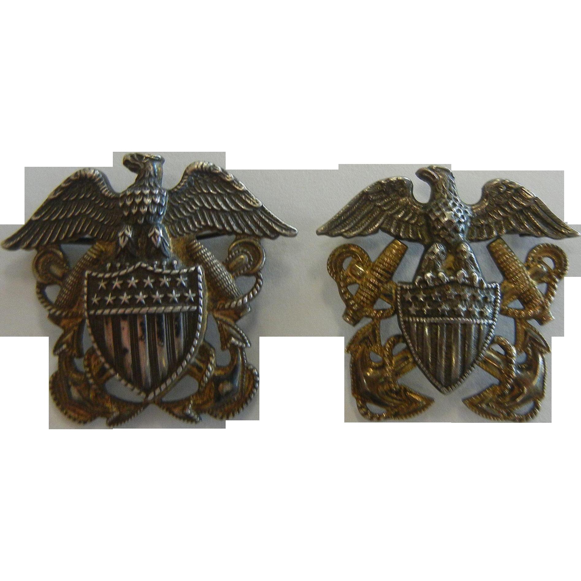 Vintage Pair of Sterling Silver US Navy Emblem Pins