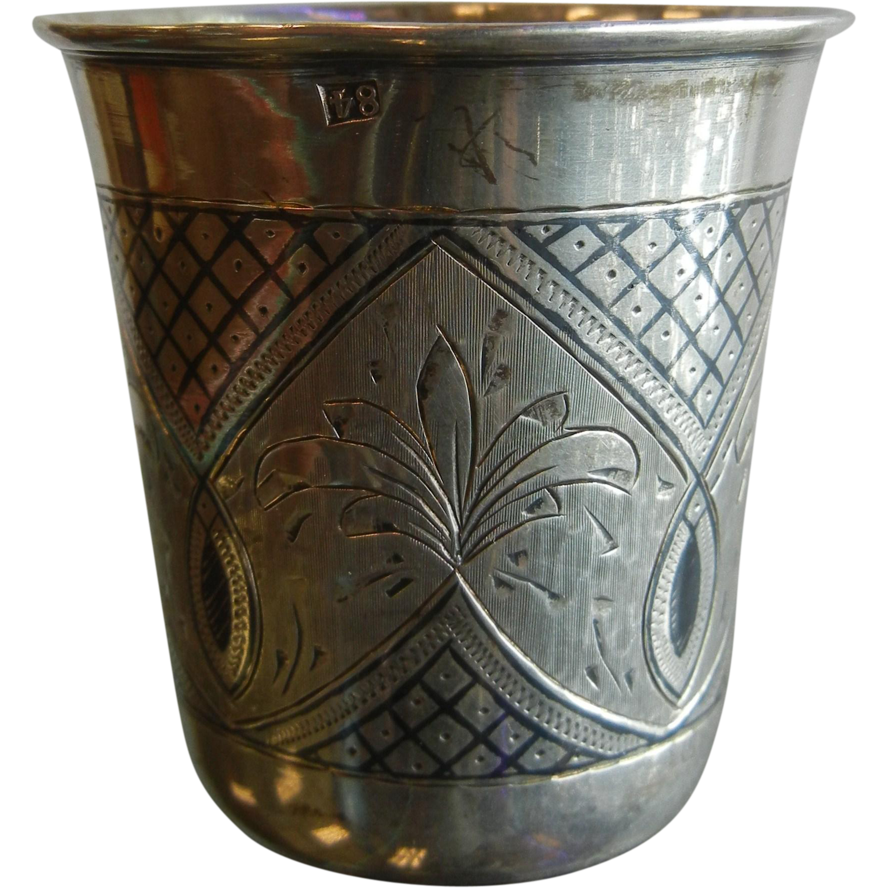 Heavily Hallmarked 1872 Antique Russian Sterling Silver Tumbler Shot Glass