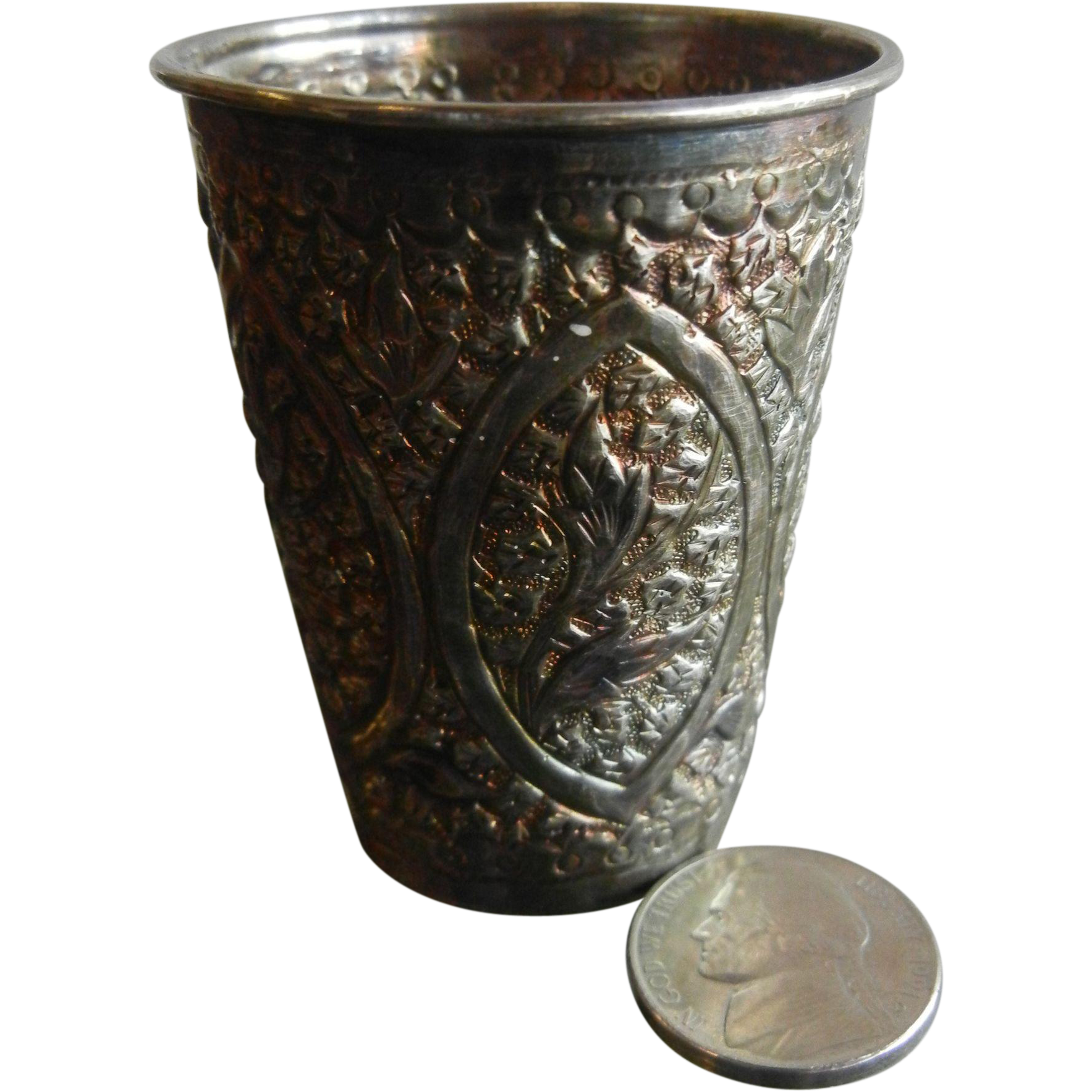 Antique Chinese Silver Floral Embellished Shot Glass