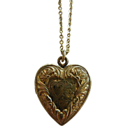 Vintage 10K GF Silver Heart-Shaped Locket Pendent Necklace