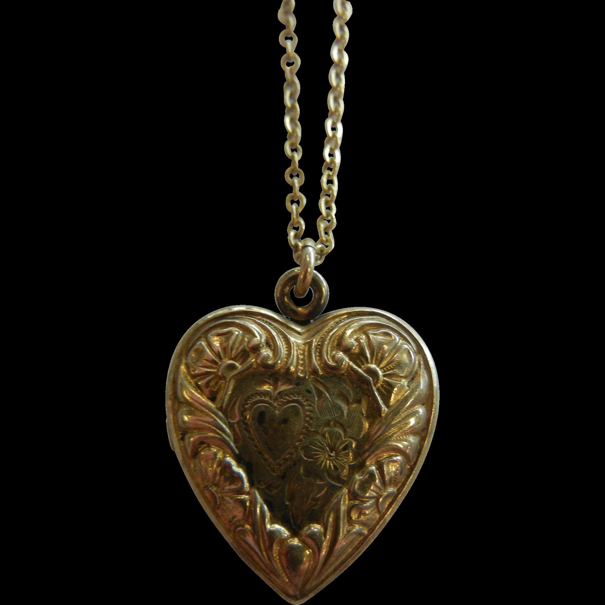 Vintage 10K GF Silver Heart-Shaped Locket Pendent Necklace