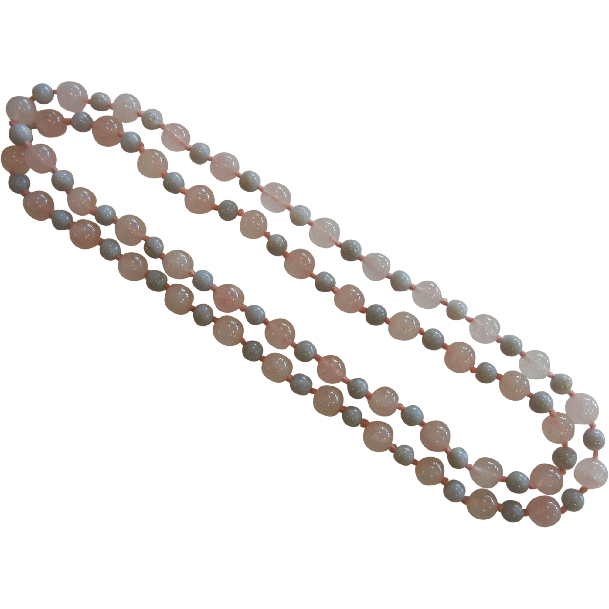 Lovely Rose Quartz & Banded Agate Bead Necklace
