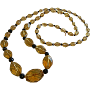 Vintage Citrine-Colored Faceted Glass Graduated Bead Necklace w/ Black Spacers