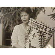 Vintage Original B&W Photograph of Nettie Kuneki, Klickitat Basketmaker