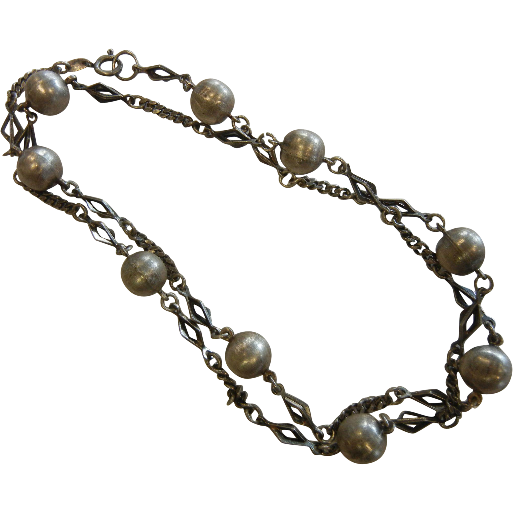 Fine Mid Century Vintage German Silver Bead Chain Link Necklace