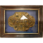 Antique Large-Size Catholic Reliquary Shadow Box Case Picture With Saint Relic