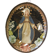 Super Fine Devotional Antique Catholic Picture of Mother Mary