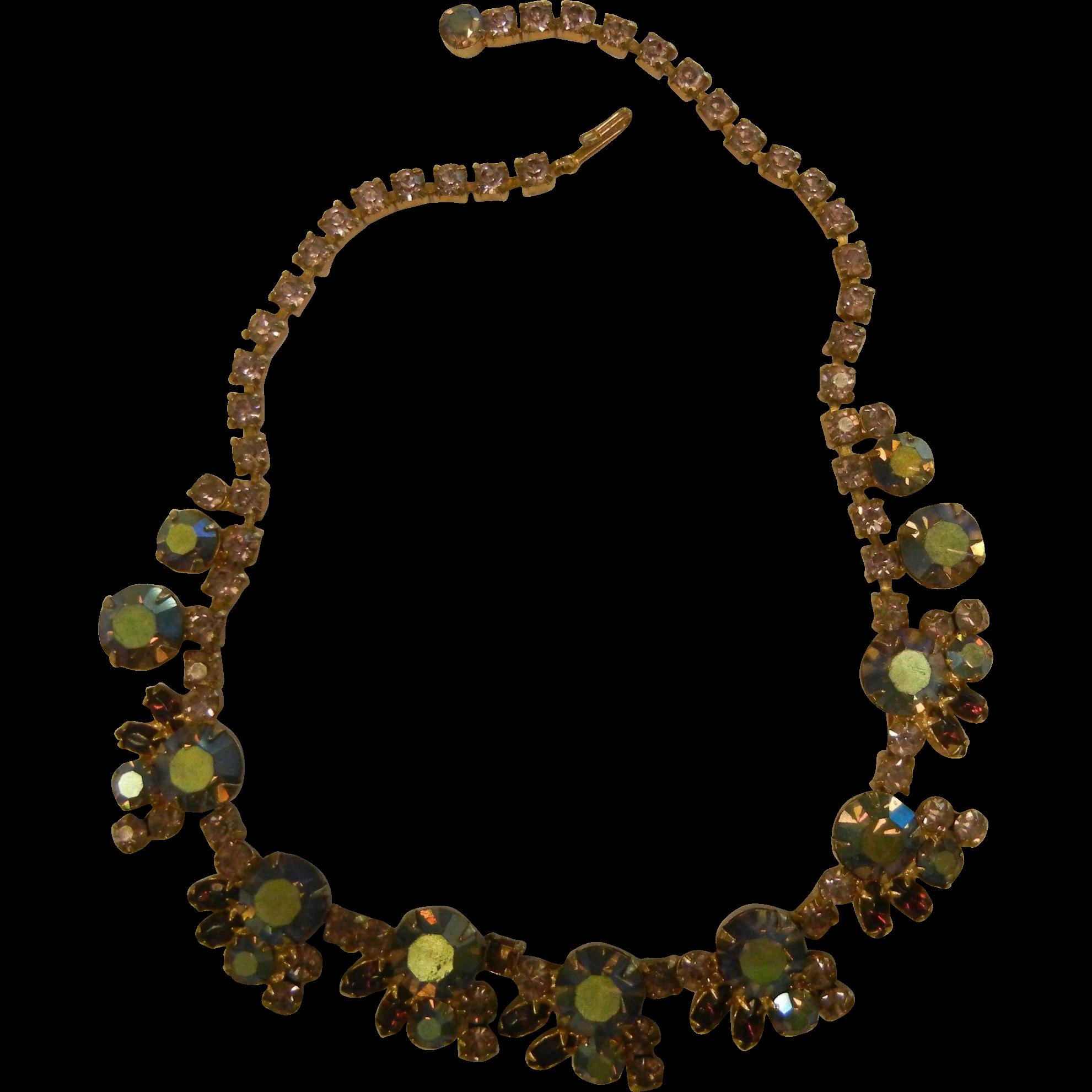 Vintage Costume Jewelry Choker Necklace w/ Iridescent Rhinestones