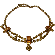 Fabulous Vintage Citrine Glass Rhinestone Costume Jewelry Choker Necklace