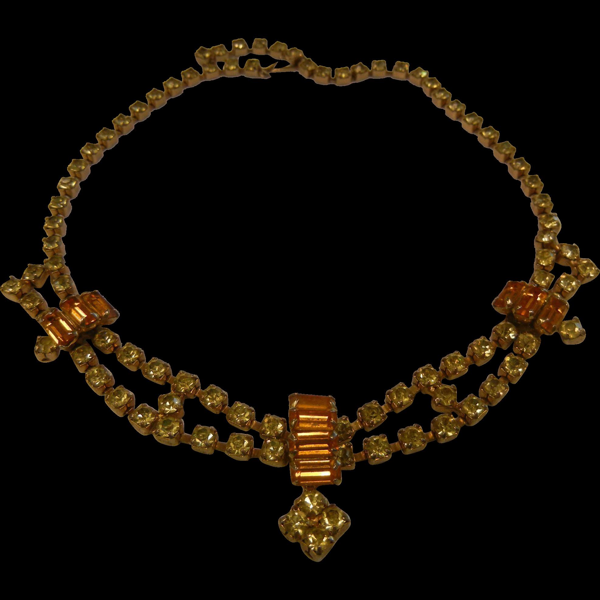 Fabulous Vintage Citrine Glass Rhinestone Costume Jewelry Choker Necklace