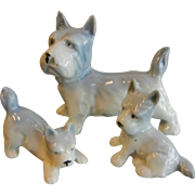 Adorable Vintage German Porcelain Figurines Trio of Terrier Dog Family